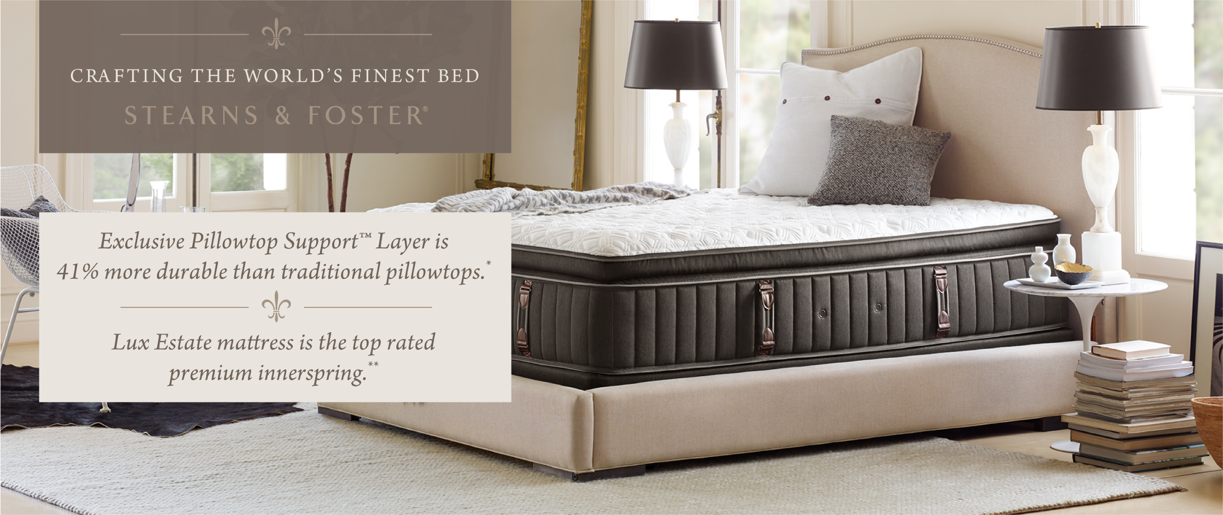 Stearns & Foster dressed bed